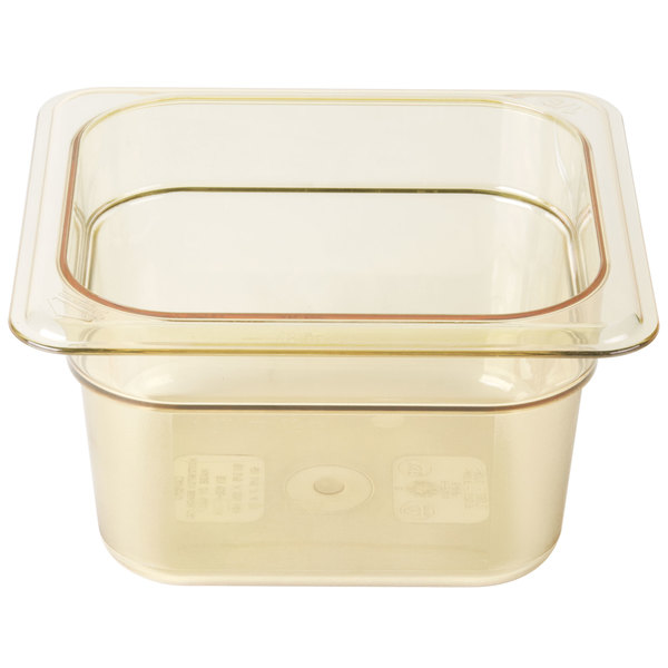 Cambro 64HP150 H-Pan 1/6 Size Amber High Heat Food Pan - 4 inch Deep