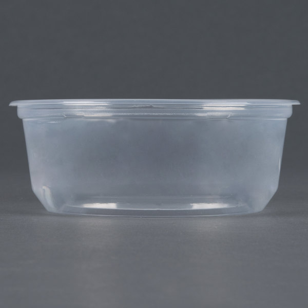 Choice 8 oz. Microwavable Translucent Round Deli Container - 500/Case