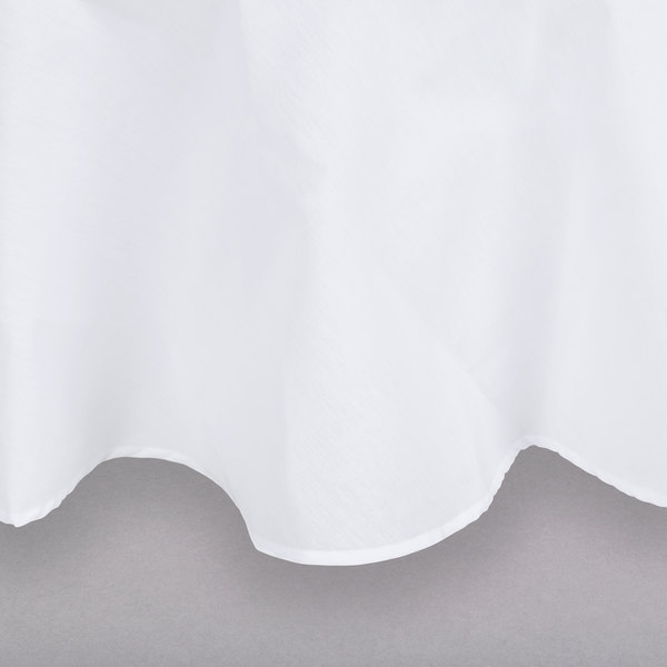 132 inch White Round Hemmed Polyspun Cloth Table Cover