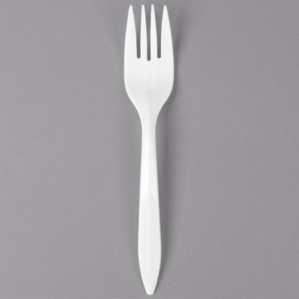 Dart Solo F6BW 6 1/8 inch Medium Weight White Plastic Fork - 1000/Case