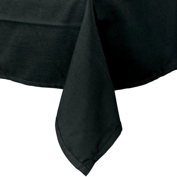 54 inch x 114 inch Black 100% Polyester Hemmed Cloth Table Cover