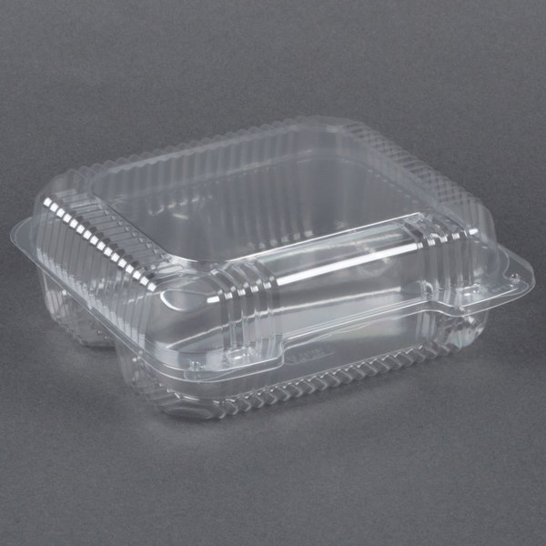 Dart Solo C51UT3 StayLock 8 1/4 inch x 7 3/4 inch x 3 inch Clear Hinged Plastic Medium 3-Compartment Container - 250/Case