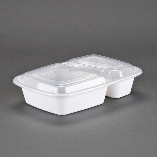 White 30 oz. 8 1/2 inch x 6 inch x 1 7/8 inch Two Compartment Rectangular Microwavable Container with Lid - 150 / Case