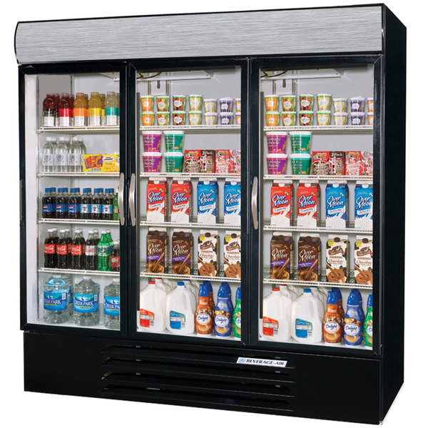 Beverage Air MMR72-1-B-LED Marketmax 75 inch Three Section Glass Door Black Merchandising Refrigerator with LED Lighting - 72 Cu. Ft.