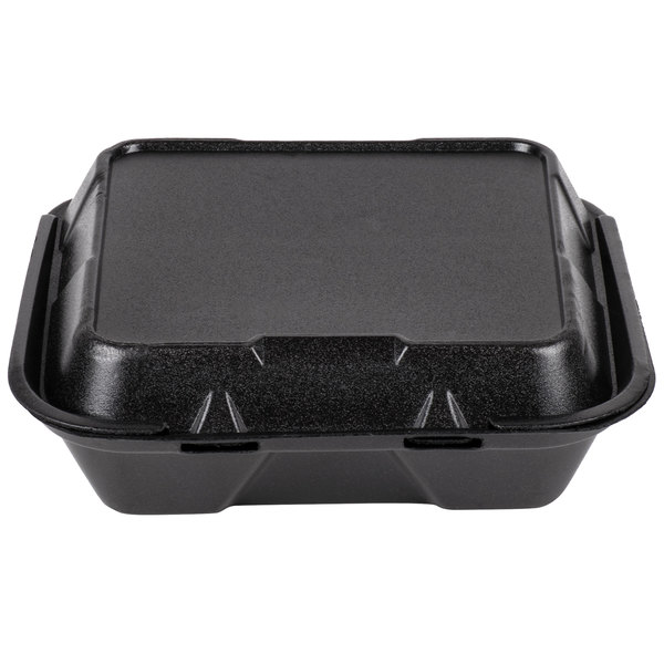 Genpak SN203-BK 9 inch x 9 inch x 3 inch Black Foam 3 Compartment Hinged Lid Container 200/Case