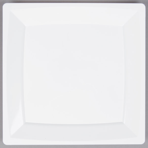 WNA Comet MS9W 8 1/4 inch White Square Milan Plastic Plate - 12/Pack