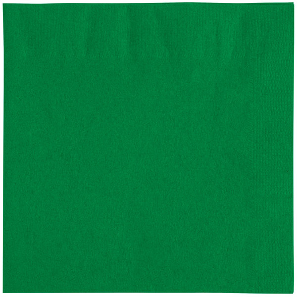Choice 10 inch x 10 inch Customizable Festive Green 2-Ply Beverage / Cocktail Napkins - 1000 / Case