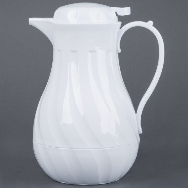Choice VSW-42W 1.24 Liter White Swirl Thermal Coffee Server