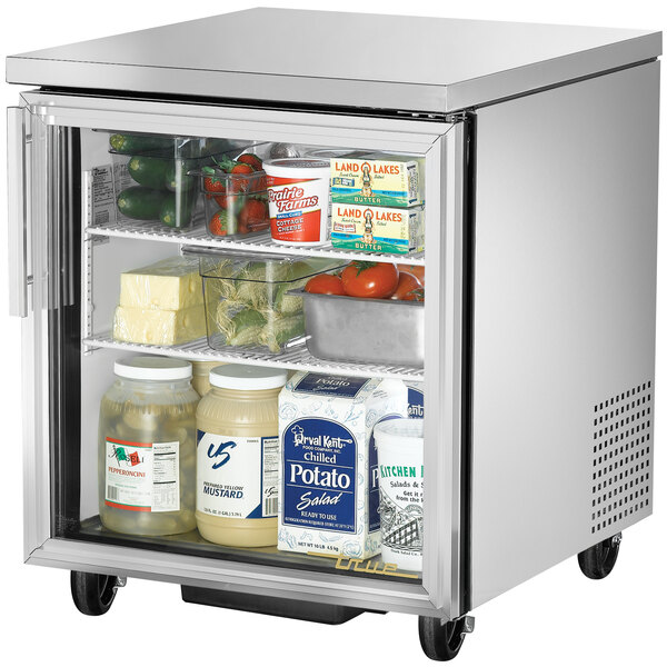 True TUC-27G-HC-LD 27 inch Undercounter Refrigerator with Glass Door