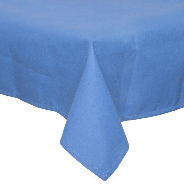 54 inch x 114 inch Light Blue 100% Polyester Hemmed Cloth Table Cover