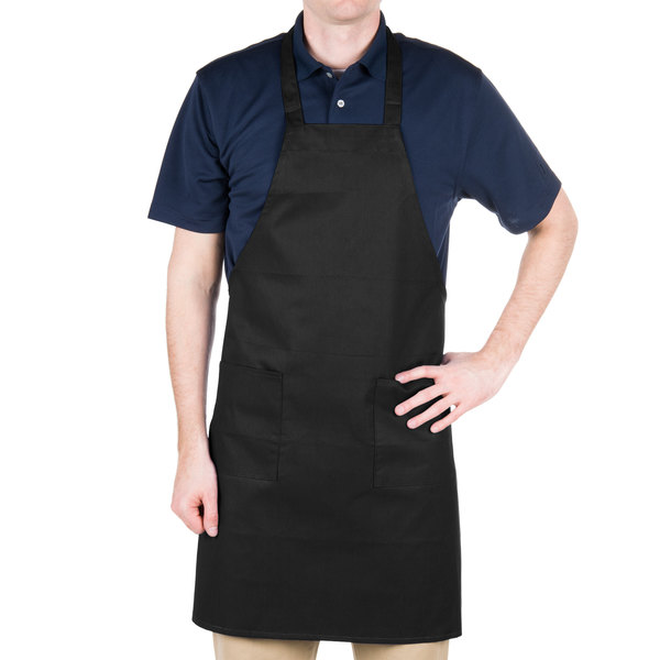 Choice Black Full Length Bib Apron with Pockets - 34 inchL x 30 inchW