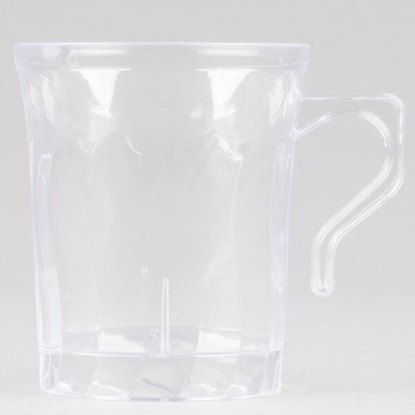 Fineline Flairware Clear 208-CL 8 oz. Plastic Coffee Mug - 8/Pack