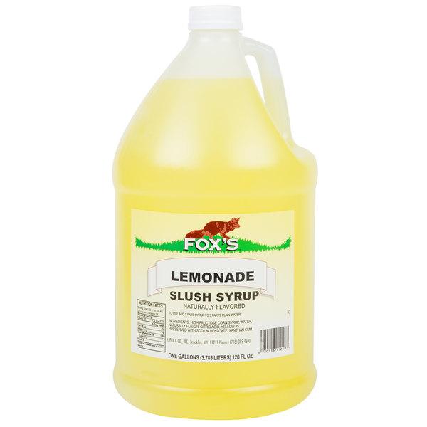 Fox's 1 Gallon Lemonade Slush Syrup  - 4/Case