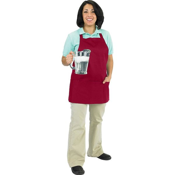 Chef Revival 602BAFH-BG Customizable Professional Front of the House Burgundy Bib Apron - 28 inchL x 25 inchW