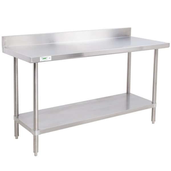 regency 24 x 48 16 gauge stainless steel commercial work table with 4 backsplash and undershelf