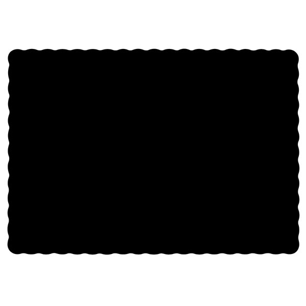 Hoffmaster 310551 10 inch x 14 inch Black Colored Paper Placemat with Scalloped Edge - 1000/Case