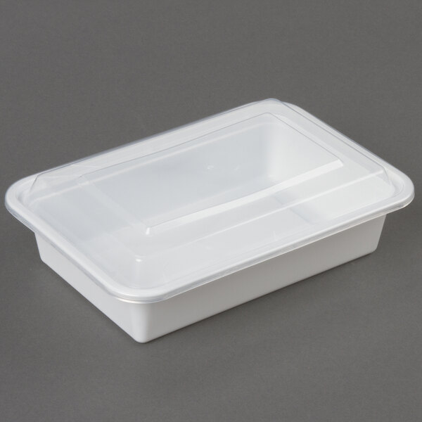 38 oz. White 8 inch x 6 inch x 2 inch Square End Microwavable Container with Lid - 150/Case