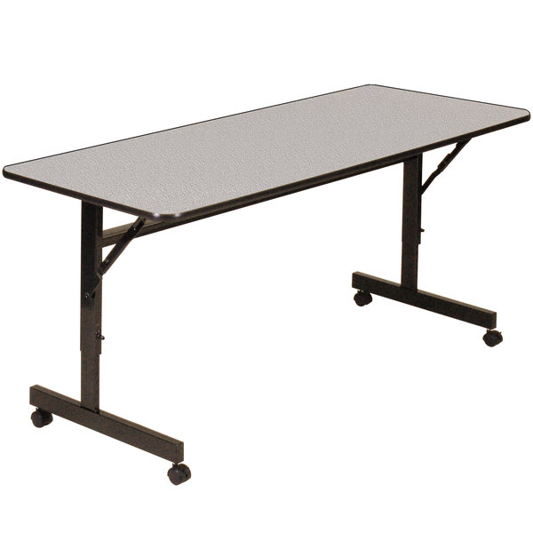 Correll EconoLine FT2448M 24 inch x 48 inch Gray Melamine Top Mobile Flip Top Adjustable Height Table
