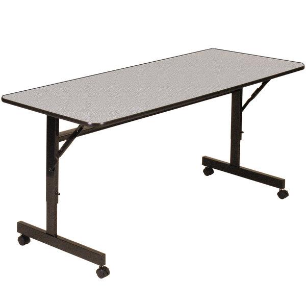 Correll EconoLine Mobile Flip Top Table, 24 inch x 48 inch Adjustable Height Melamine Top, Gray - EconoLine