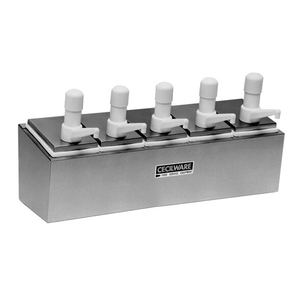 Cecilware 544S Super Pumps Stainless Steel Condiment Rail with Five Plastic Pumps, Jars, and Covers
