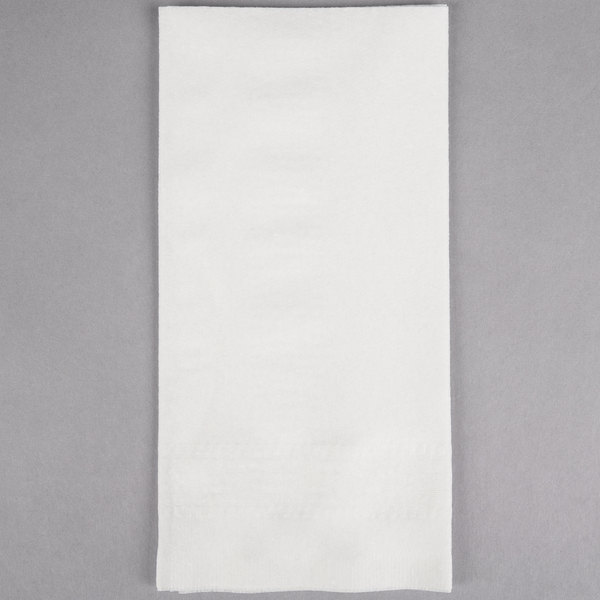 Hoffmaster 120051 17 inch x 17 inch White Linen-Like 1/8 Fold Greek Key Embossed Dinner Napkin - 300/Case