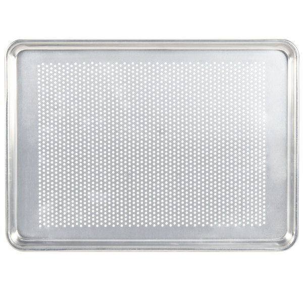 Vollrath Wear-Ever 5303P Perforated Half Size 18 Gauge Aluminum Bun / Sheet Pan - Wire in Rim, 13 inch x 18 inch