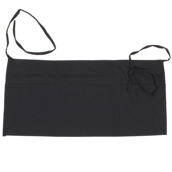 Choice 24 inch x 12 inch Black Front of the House Waist Apron