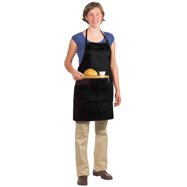 Chef Revival 601BAO-3-BK Customizable Professional Gourmet Full-Length Black Bib Apron - 30 inch x 28 inch