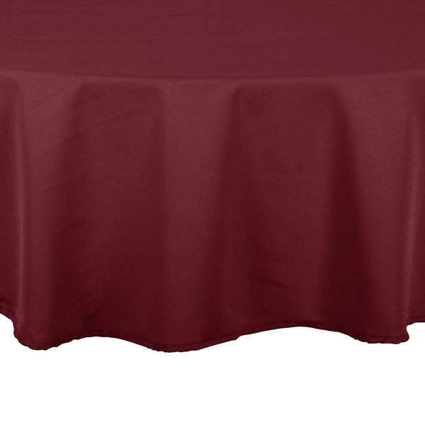 90 inch Round Burgundy 100% Polyester Hemmed Cloth Table Cover