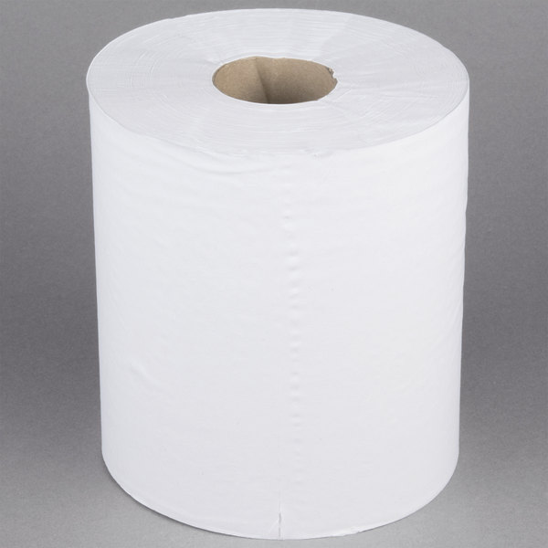 1-Ply 990' White Center Pull Paper Towel Roll - 6/Case