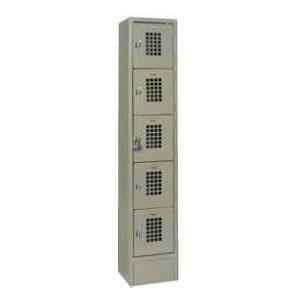 Winholt WL-55 Single Column Five Door Locker with Perforated Doors - 12 inch x 12 inch