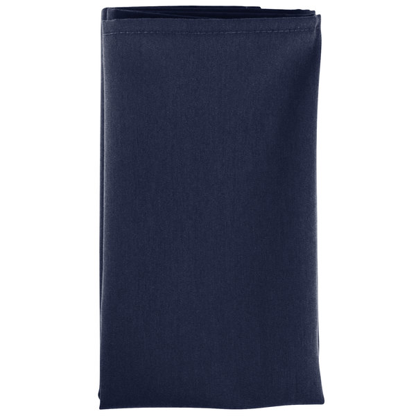 20 inch x 20 inch Navy Blue 100% Polyester Hemmed Cloth Napkin - 12/Pack