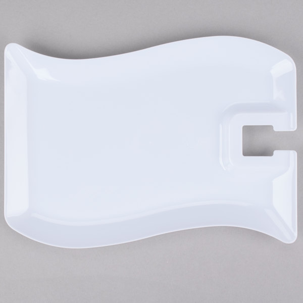 Fineline Wavetrends 1409-WH 6 inch x 9 1/2 inch White Plastic Cocktail Plate with Stemware Hole - 10/Pack