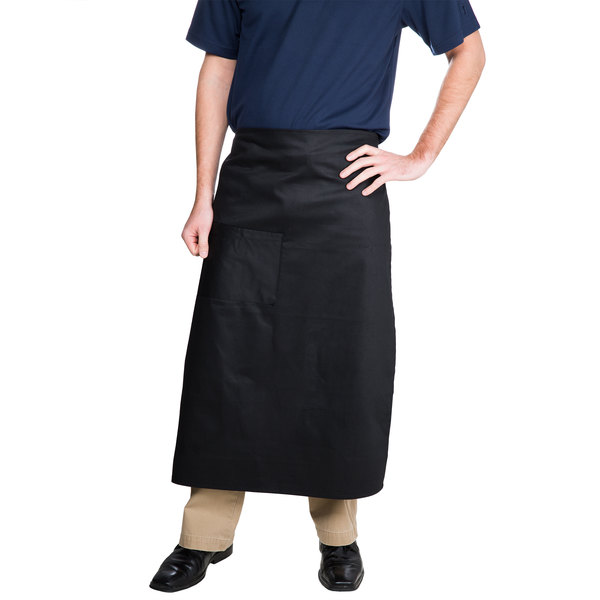 Choice Black Bistro Apron with Pocket - 34 inchL x 28 inchW
