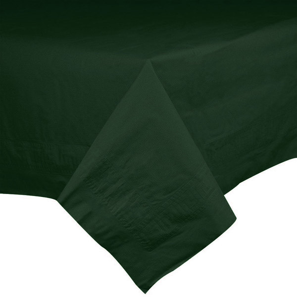 Hoffmaster 220637 54 inch x 108 inch Cellutex Green Tissue / Poly Hunter Paper Table Cover - 25/Case