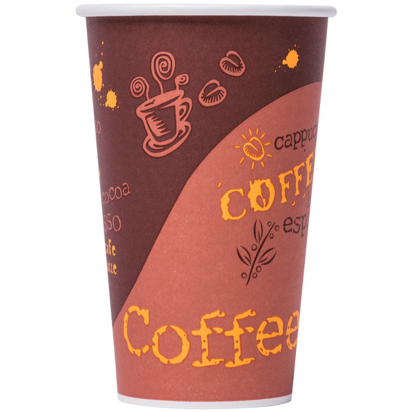Choice 20 oz. Poly Paper Hot Cup with Coffee Design - 50 / Pack