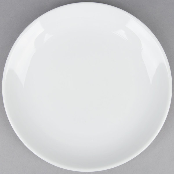 10 inch Coupe Bright White Round Porcelain Plate  - 12/Case