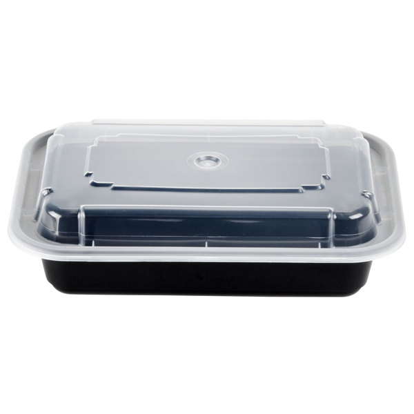 Newspring NC-8168-B 16 oz. Black 5 inch x 7 1/4 inch x 1 1/2 inch VERSAtainer Rectangular Microwavable Container with Lid - 150/Case