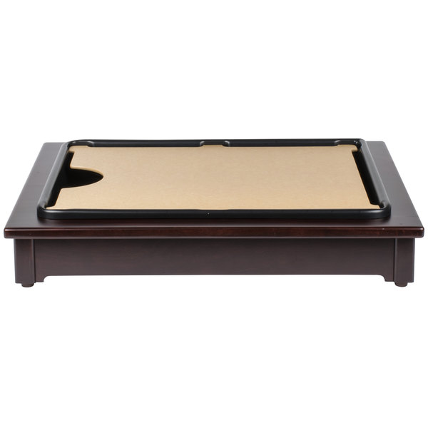 Cal-Mil 810-52 Cut-Mate Carving Station Kit with Dark Wood Frame, Drip Tray, and Cutting Board