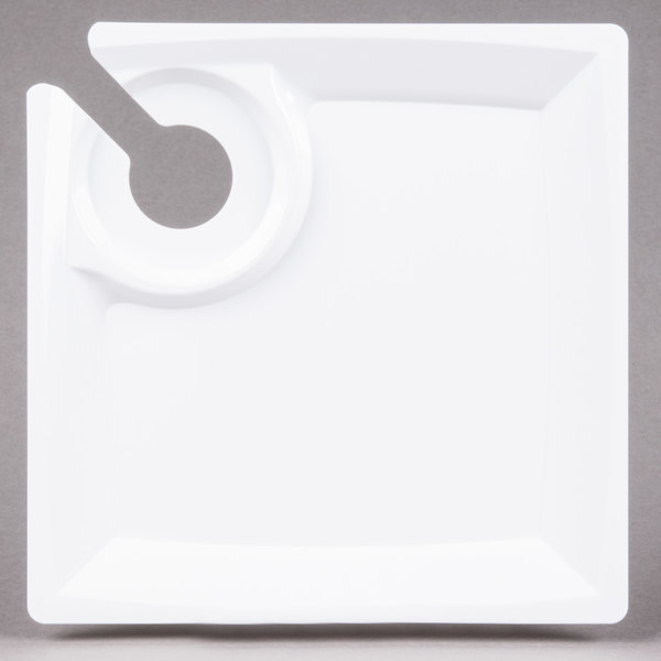 WNA Comet MSCTLW 8 inch White Square Milan Plastic Cocktail Plate with Cup Holder - 12/Pack