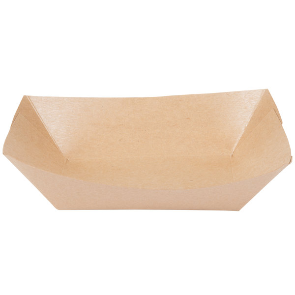 Bagcraft Papercon 300699 3 lb. EcoCraft Grease-Proof Natural Kraft Food Tray - 500/Case
