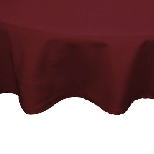 72 inch Round Burgundy 100% Polyester Hemmed Cloth Table Cover