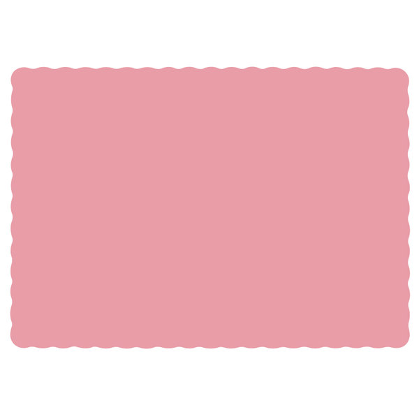 Hoffmaster 310525 10 inch x 14 inch Dusty Rose Pink Colored Paper Placemat with Scalloped Edge - 1000/Case