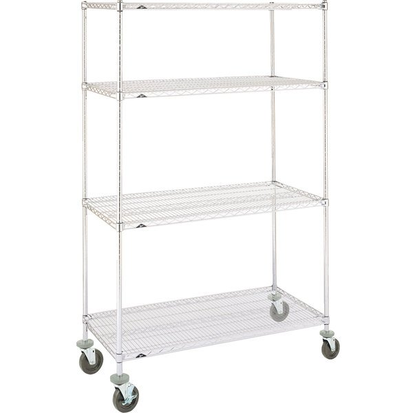 Metro Super Erecta N566BBR Brite Mobile Wire Shelving Unit with Rubber Casters 24 inch x 60 inch x 69 inch
