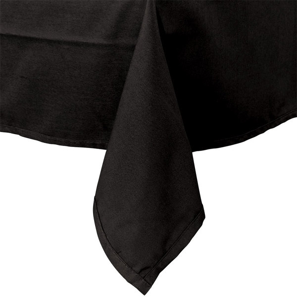 54 inch x 114 inch Black Hemmed Polyspun Cloth Table Cover