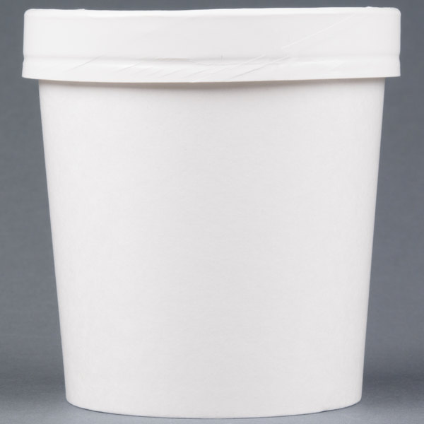 Huhtamaki Chinet 71844 16 oz. Double-Wall Poly White Paper Soup / Hot Food Cup with Vented Paper Lid - 250/Case
