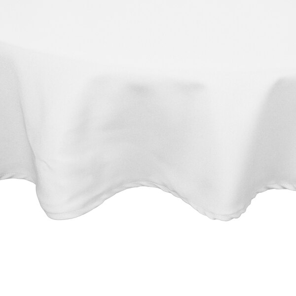 132 inch Round White 100% Polyester Hemmed Cloth Table Cover