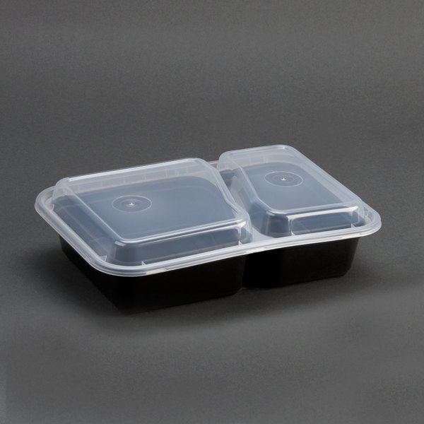 Newspring NC-8288-B Black 30 oz. VERSAtainer 2 Compartment 8 1/2 inch x 6 inch x 1 7/8 inch Rectangular Microwavable Container with Lid 150/Case