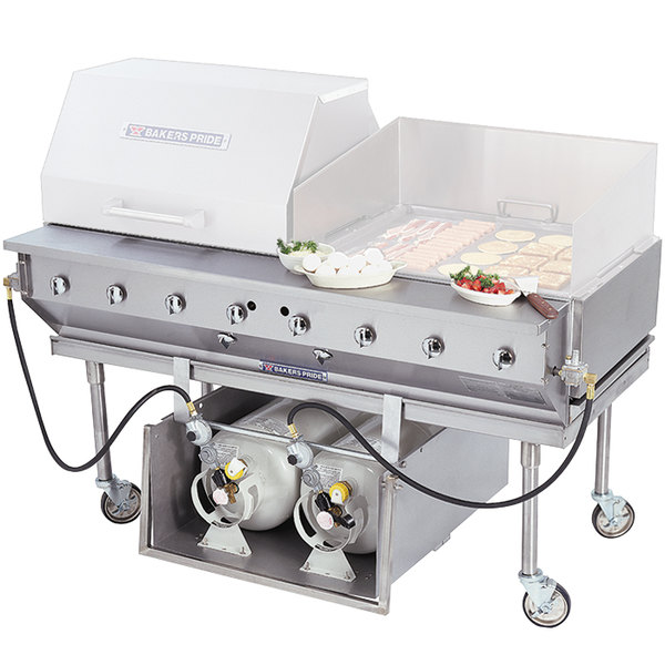 Bakers Pride CBBQ-60S-P 60 inch Ultimate Outdoor Gas Charbroiler with Tank Caddy