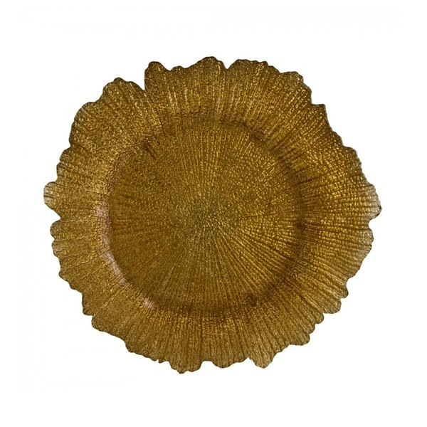 10 Strawberry Street SPG340 13 3/4 inch Sponge Gold Glass Charger Plate - 12/Case